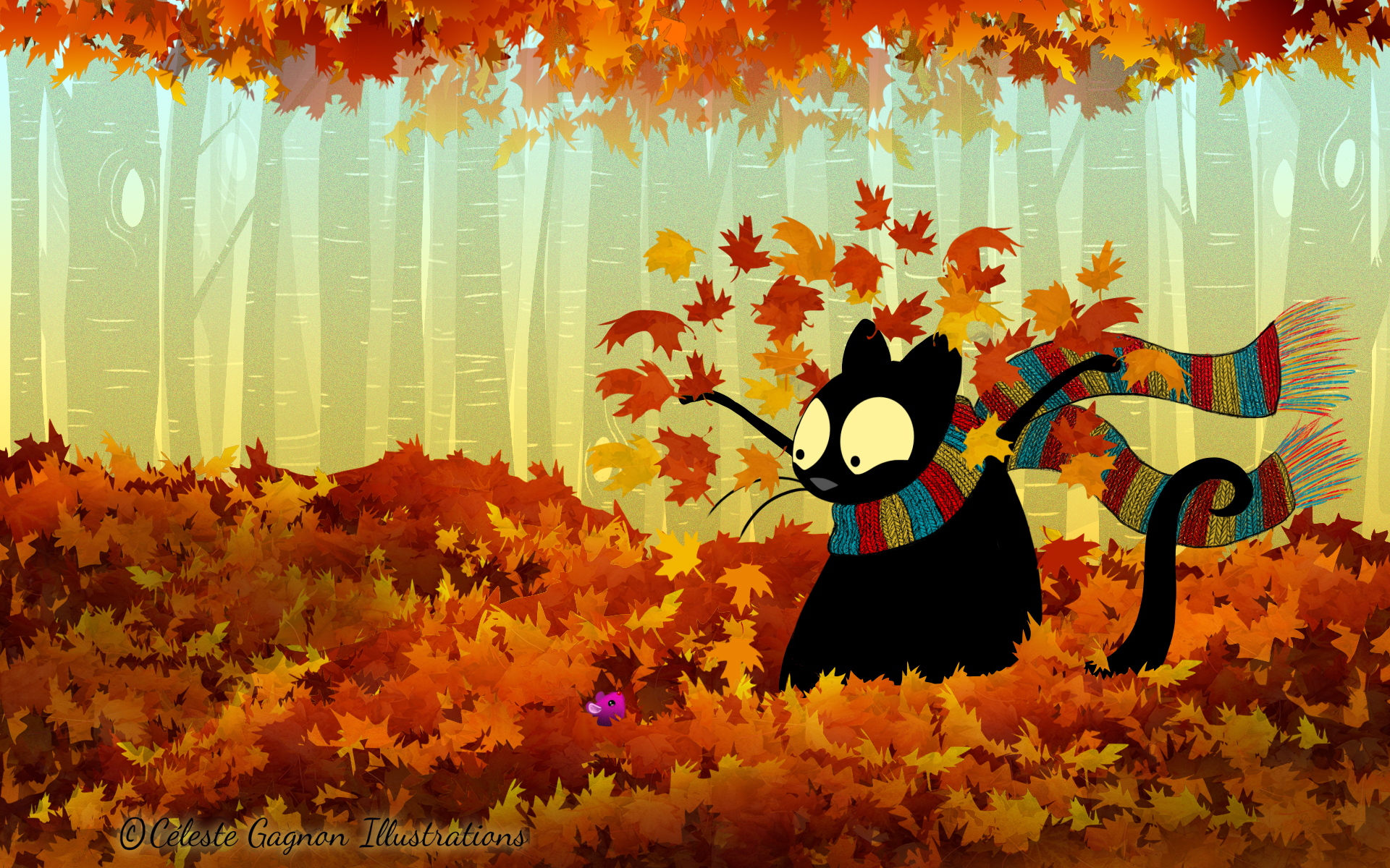 Echo the Cat Fall wallpaper Cleste Gagnon Illustrations 1920x1200