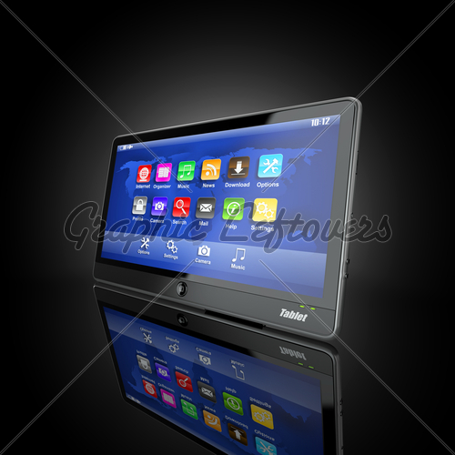 Black Tablet Pc On Black Background GL Stock Images 500x500