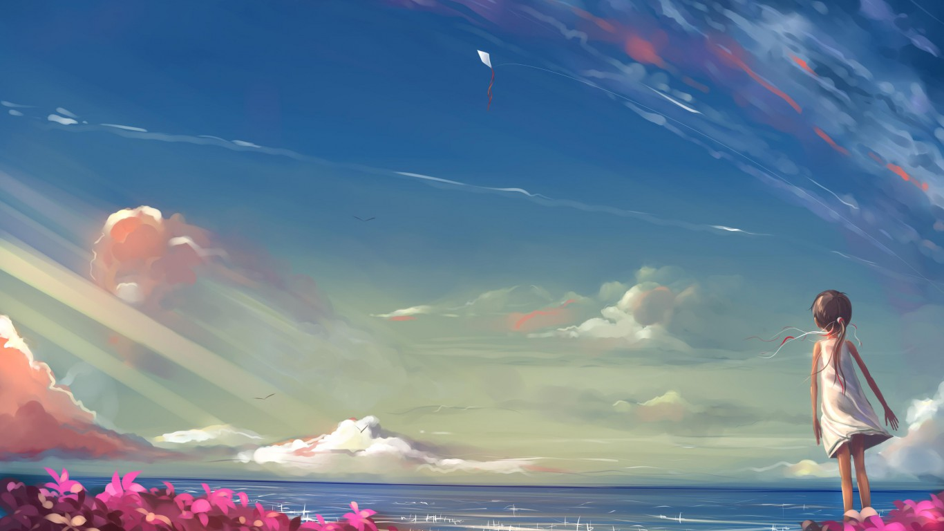 1366x768px Anime Scenery Wallpaper