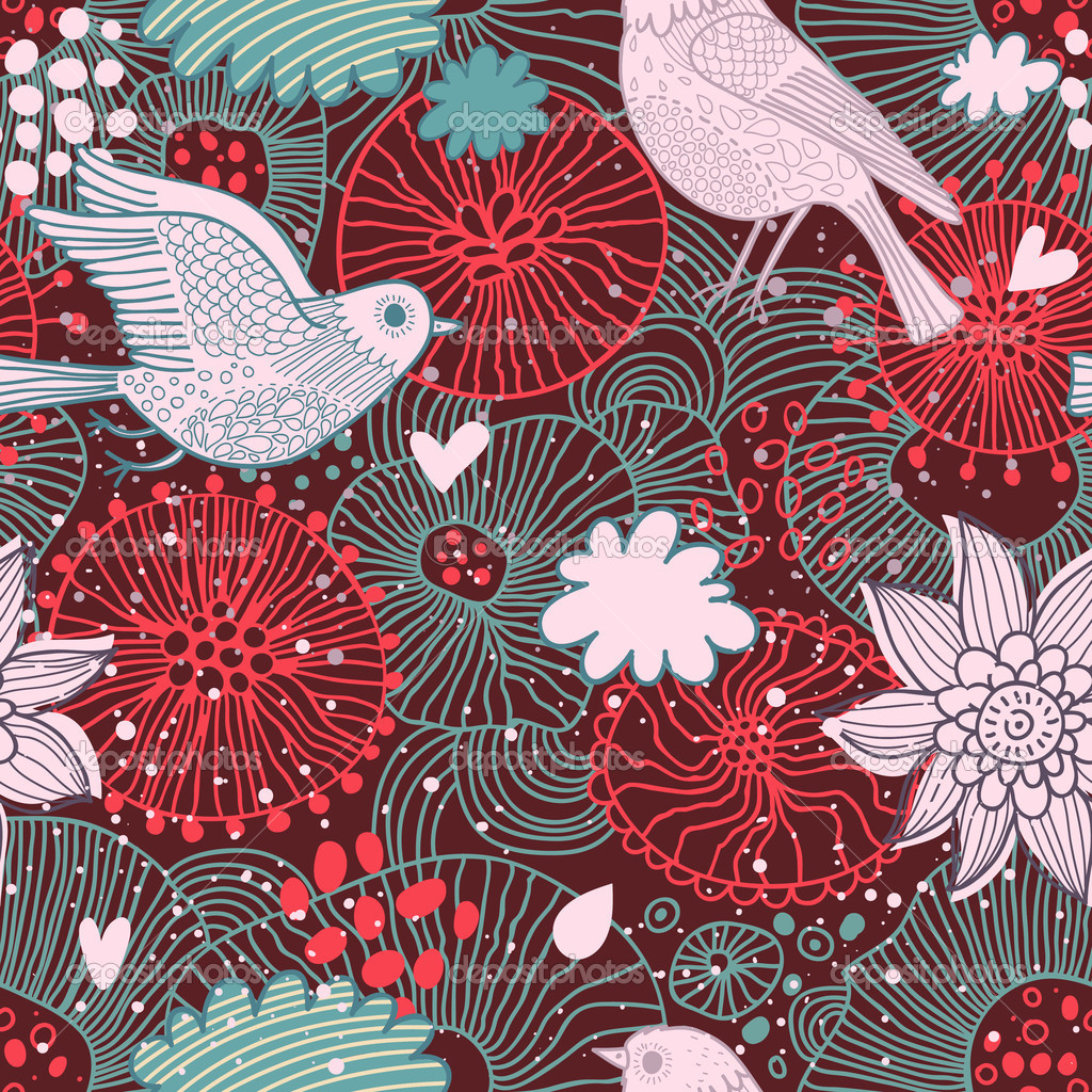 birds in flowers Seamless pattern can be used for wallpapers pattern 1024x1024