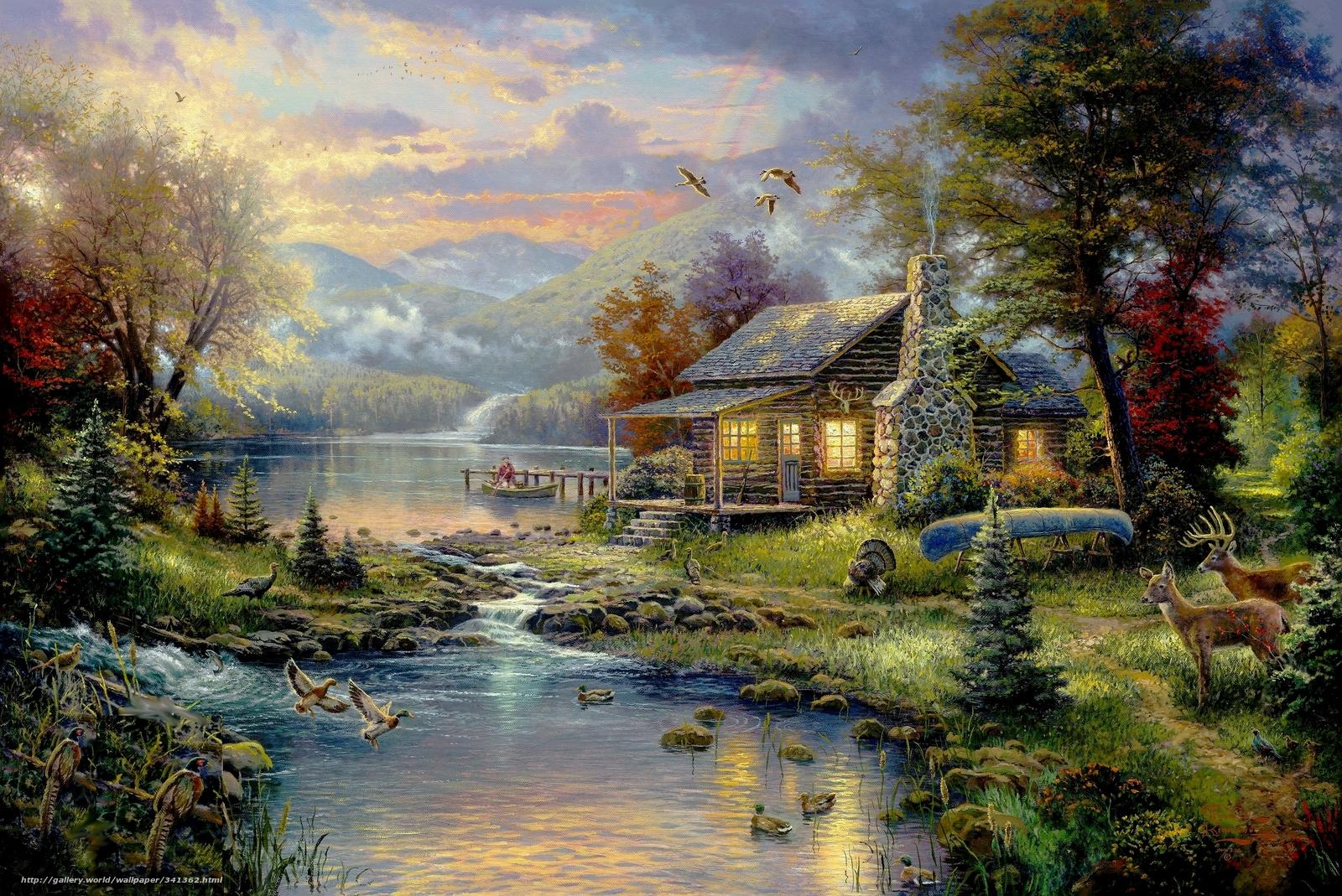 wallpaper picture Thomas Kinkade painting paradise desktop 1600x1069