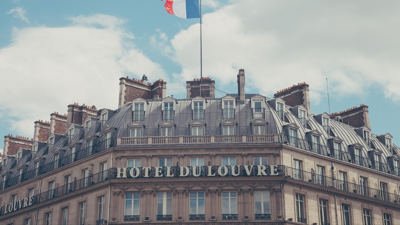 Download wallpaper 1366x768 paris france hotel hotel du louvre 1366x768