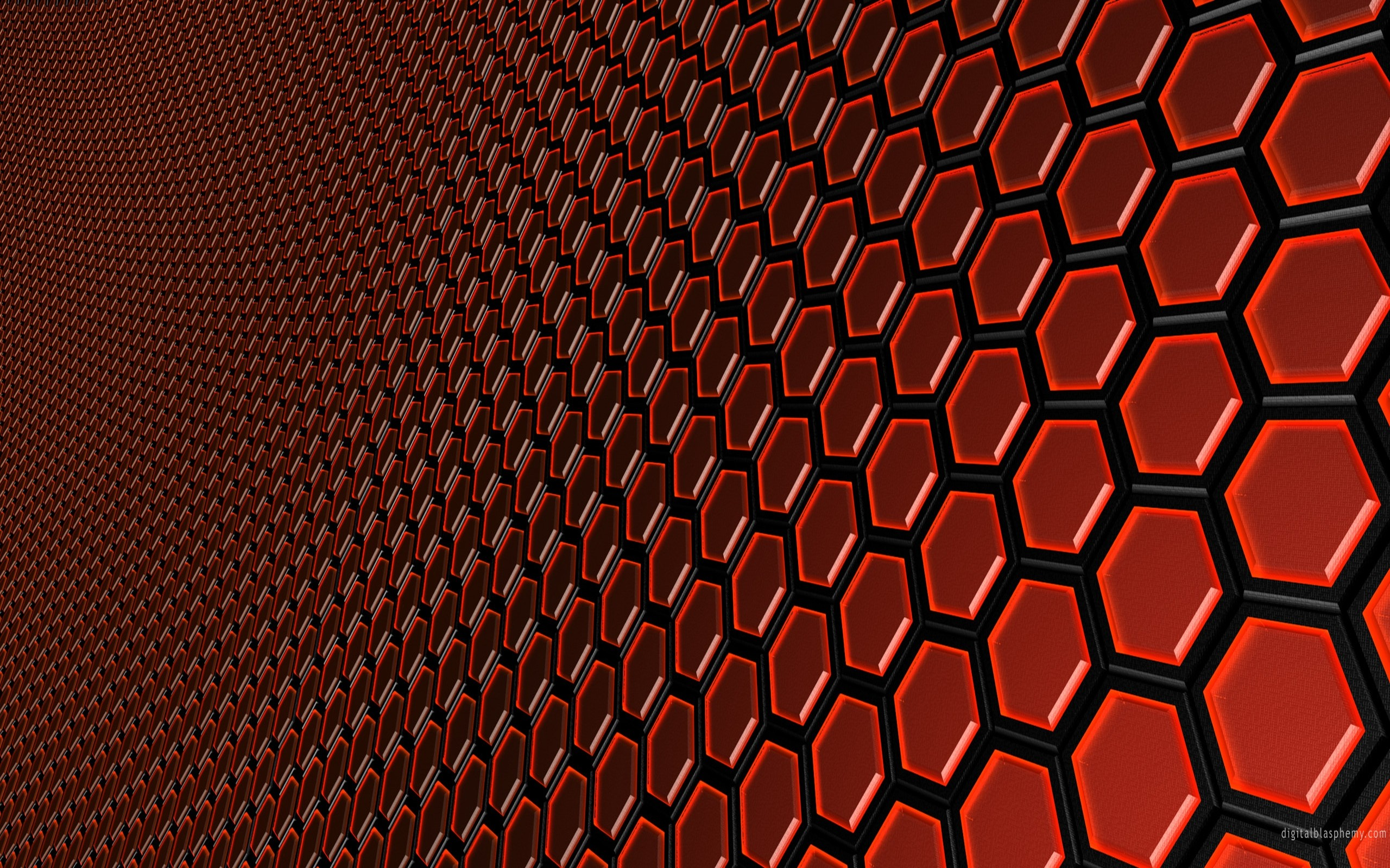 abstract red hexagons digital art Wallpapers 2560x1600