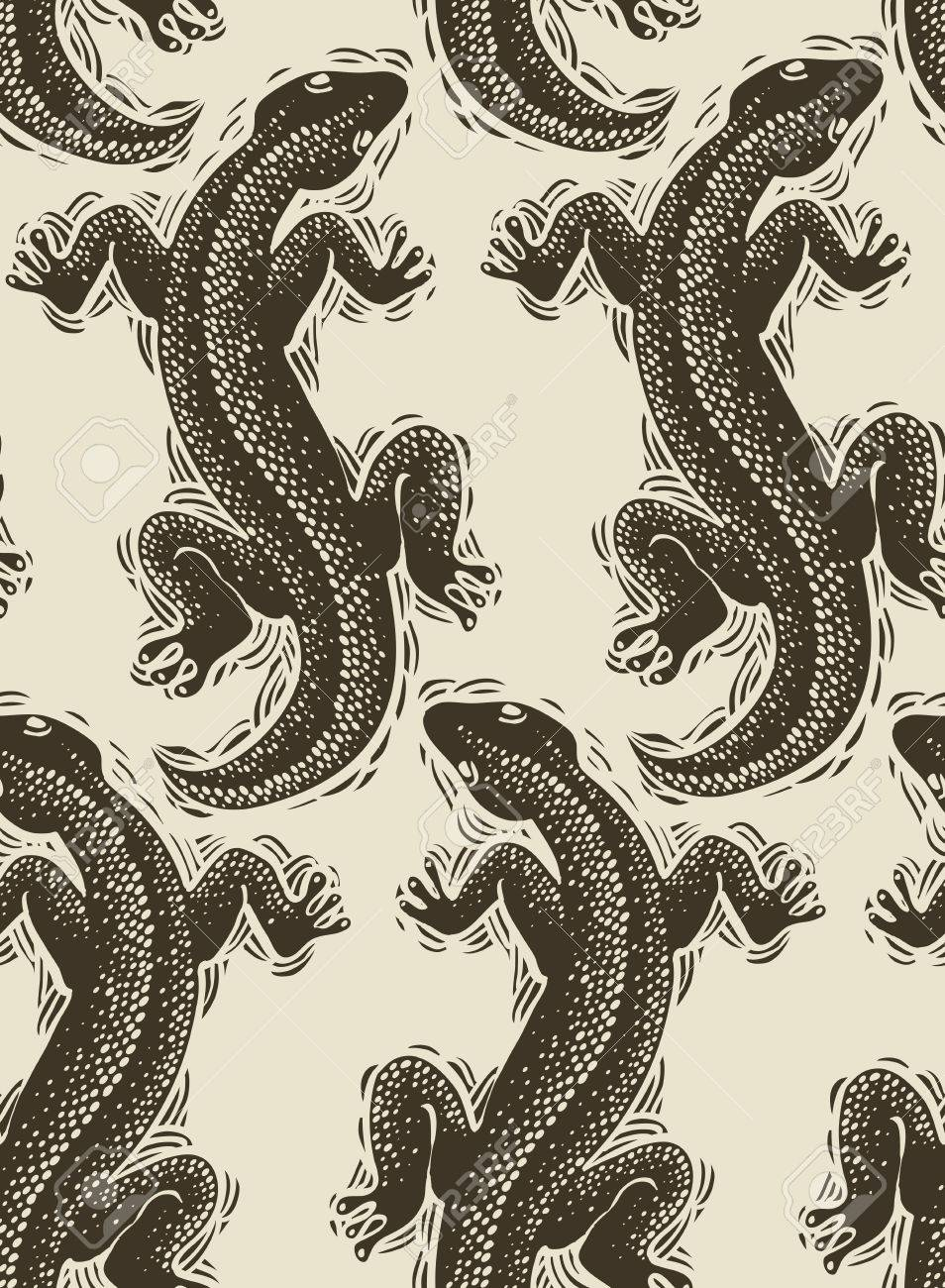 Vector Lizards Wrapping Paper Seamless Pattern With Reptiles 954x1300