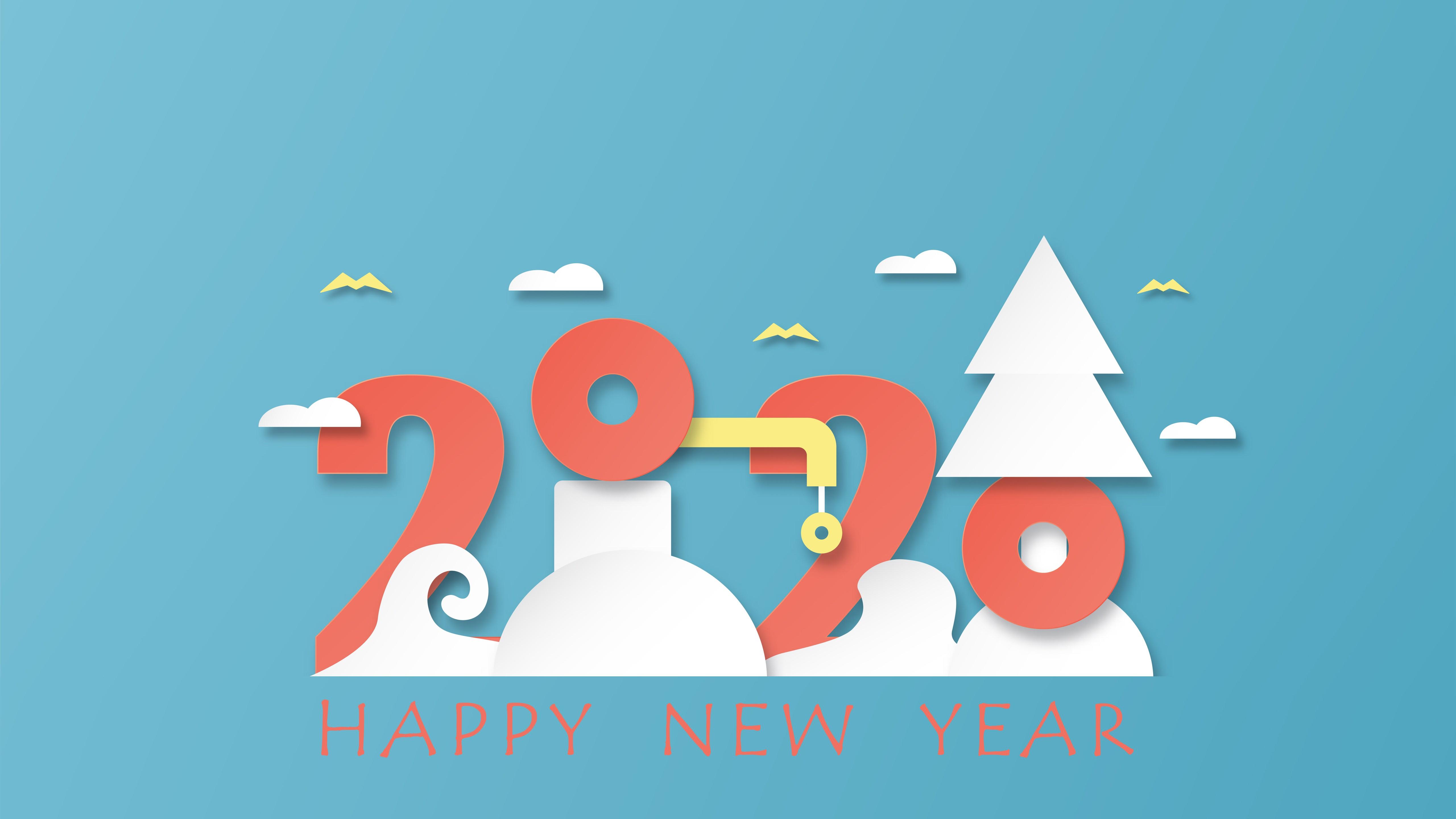 Super Happy New Year 2020 5K Wallpaper HD Wallpapers 5120x2880