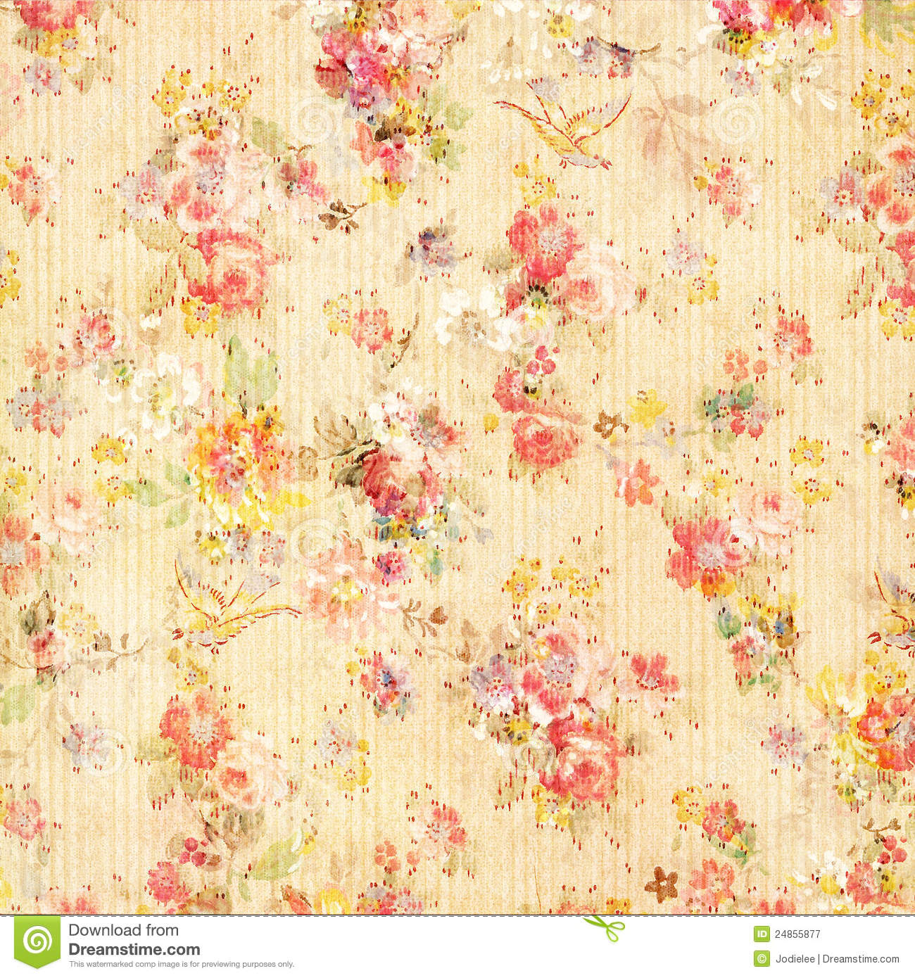 Free Download Yellow Shabby Chic Vintage Floral Wallpaper