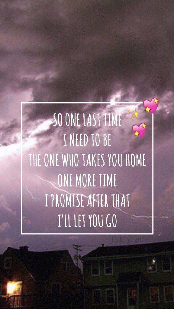 Wallpaper Lockscreen One Last Time Ariana Grande lyrics Music 576x1024