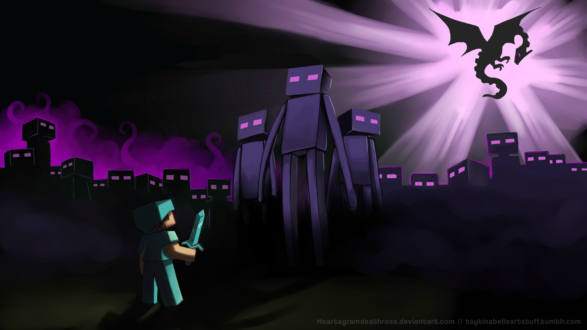 Minecraft Purple Dragon wallpaper background 1920x1080