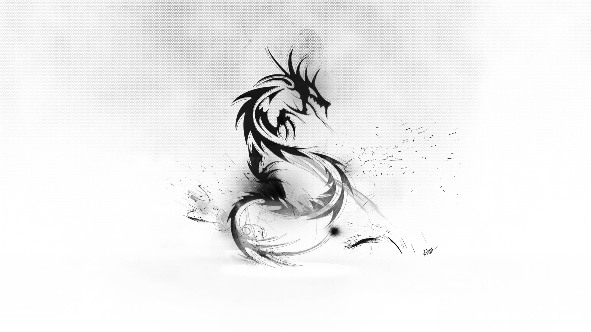Abstract Dragon Wallpaper BlackWhite by maciekporebski on 1920x1080