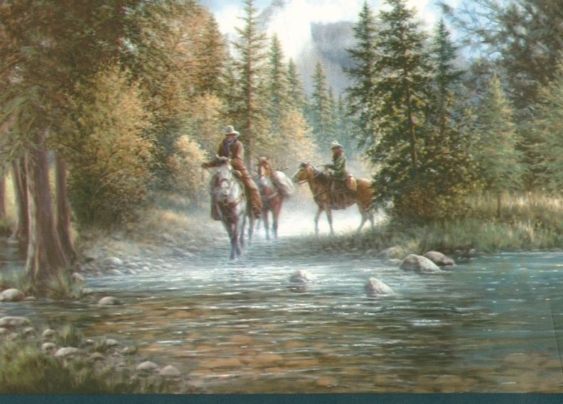 The Old West Trail Wallpaper Border Cowboy Horse eBay 792x569