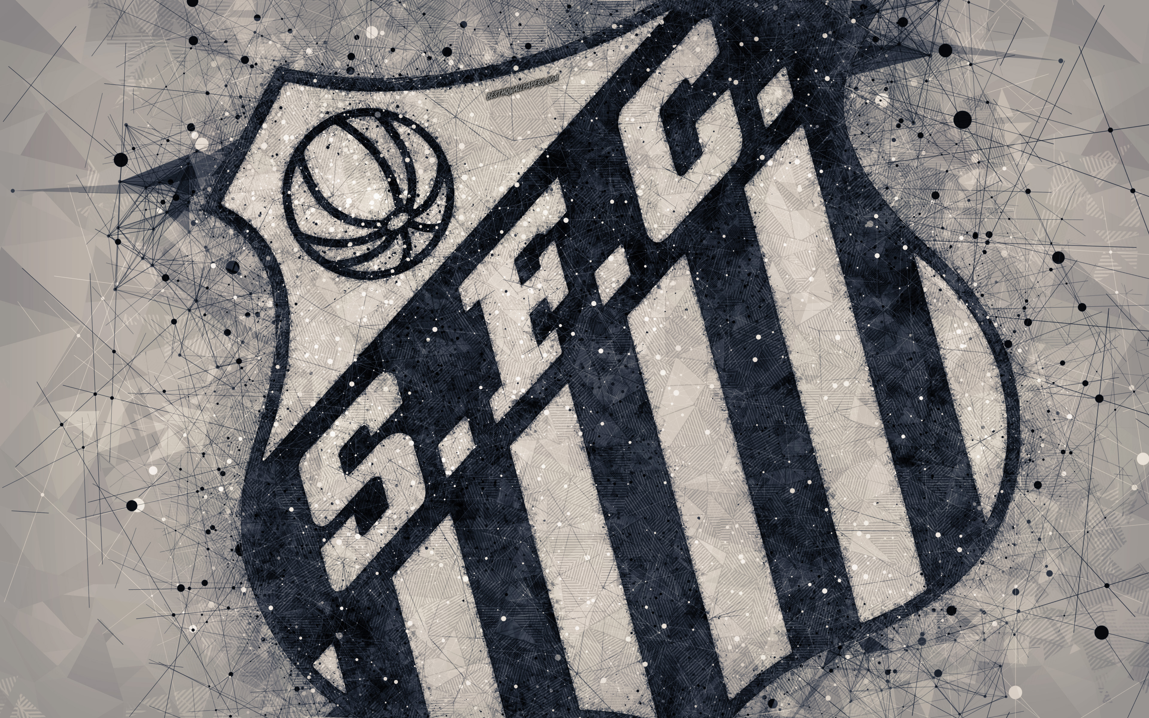 Download wallpapers Santos FC 4k creative geometric art logo 3840x2400