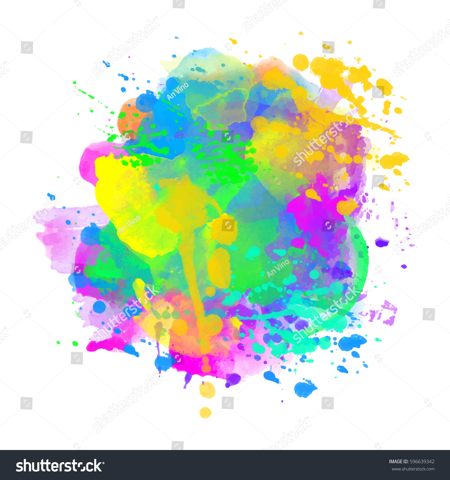 Watercolor Coloring Background Eps10 Happy Holi Stock Vector 1500x1600