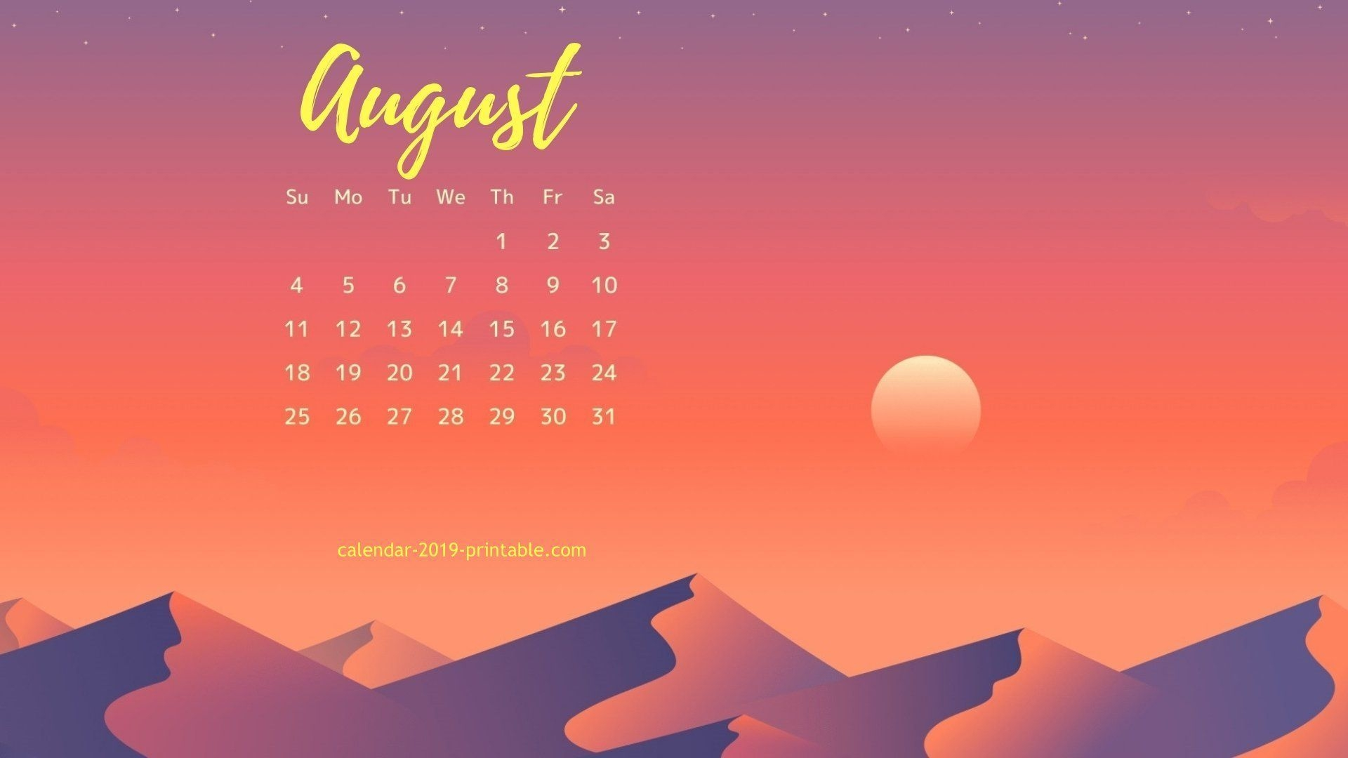 August 2019 Calendar Images For Desktop Background Calendar 1920x1080