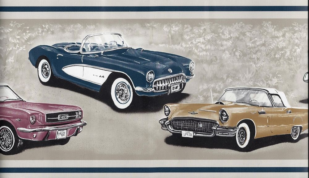 ANTIQUE ROADSTER,TOURING CARS Blu Wallpaper bordeR Wall