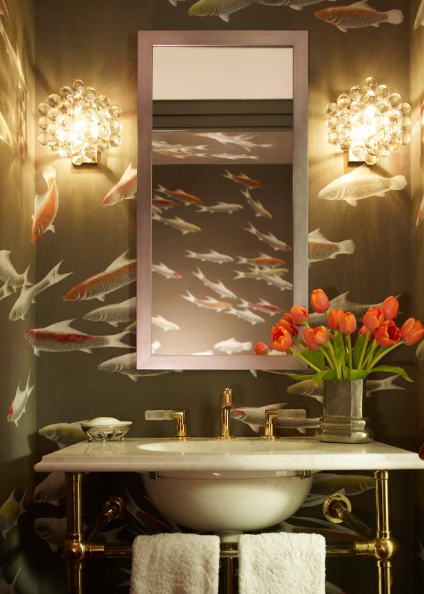 Powder Room With de Gournay Wallpaper and Glass Bubble Sconces 616x862