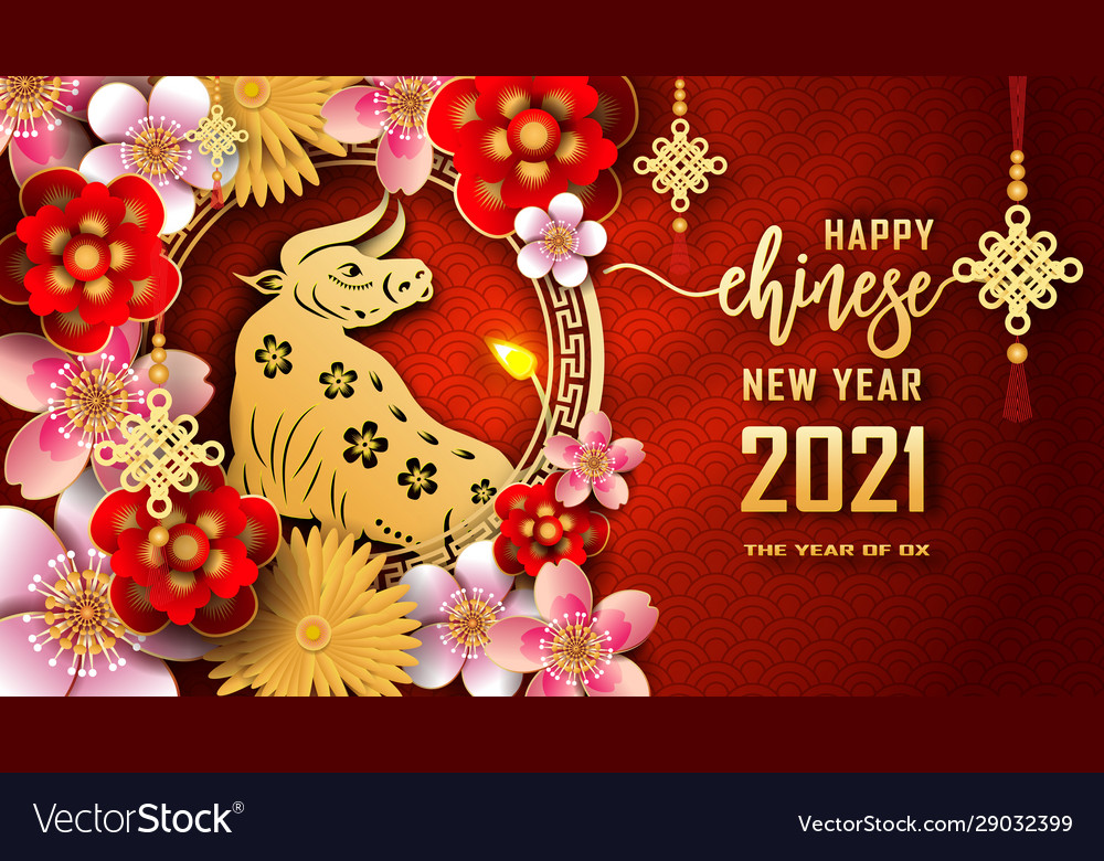 Happy chinese new year 2021 year ox Royalty Vector 1000x780