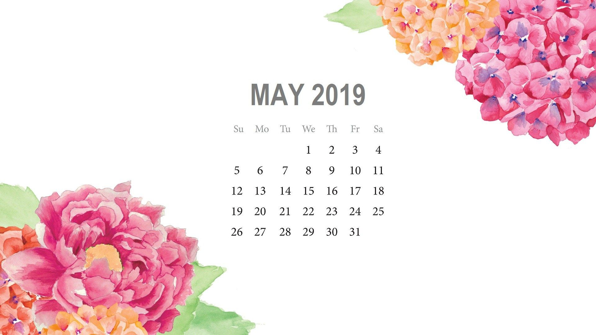 May 2019 Desktop Calendar Wallpaper Cute Floral Printable May 1920x1080