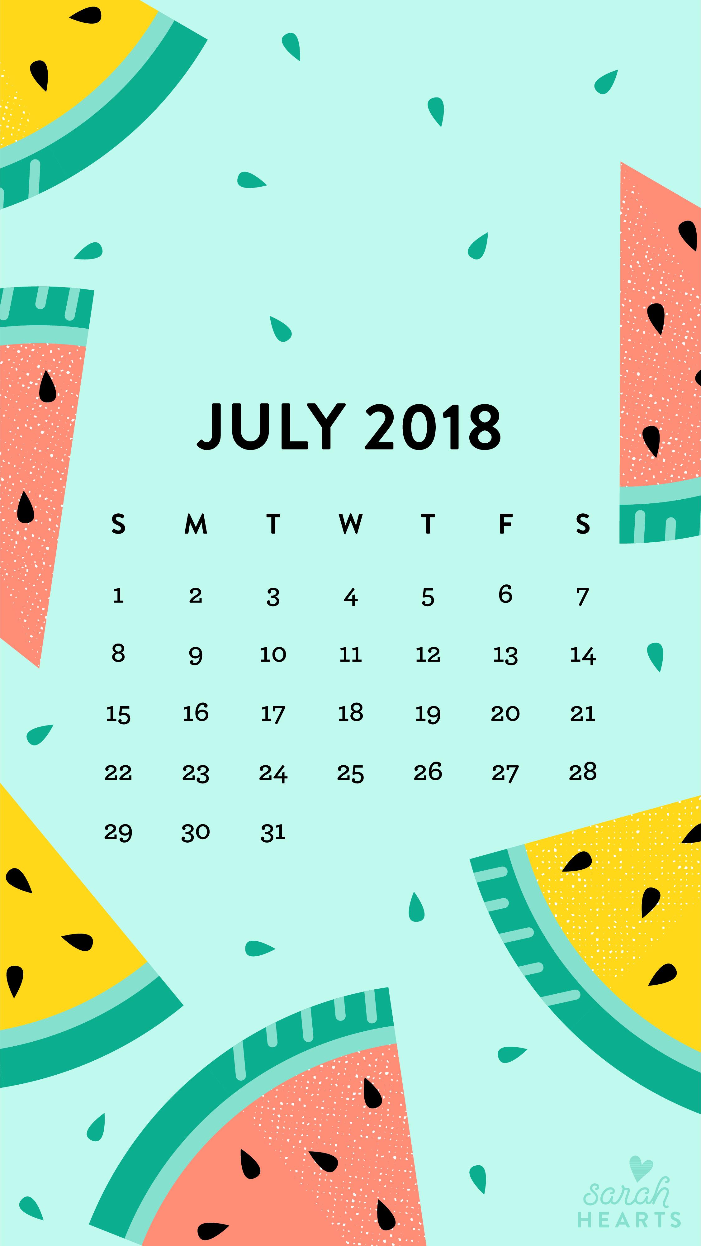 July 2018 Watermelon Calendar Wallpaper   Sarah Hearts 2251x4000
