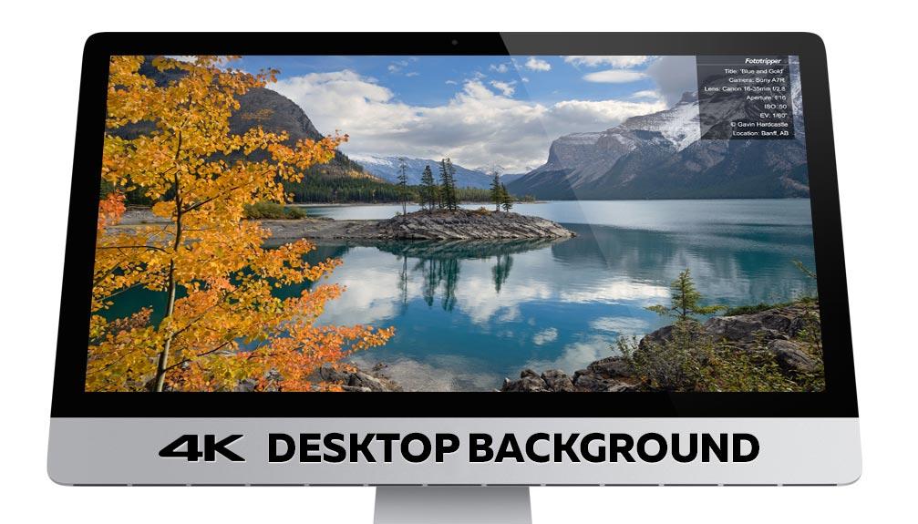 4K Desktop Background of Lake Minnewanka in Banff National Park 1007x575