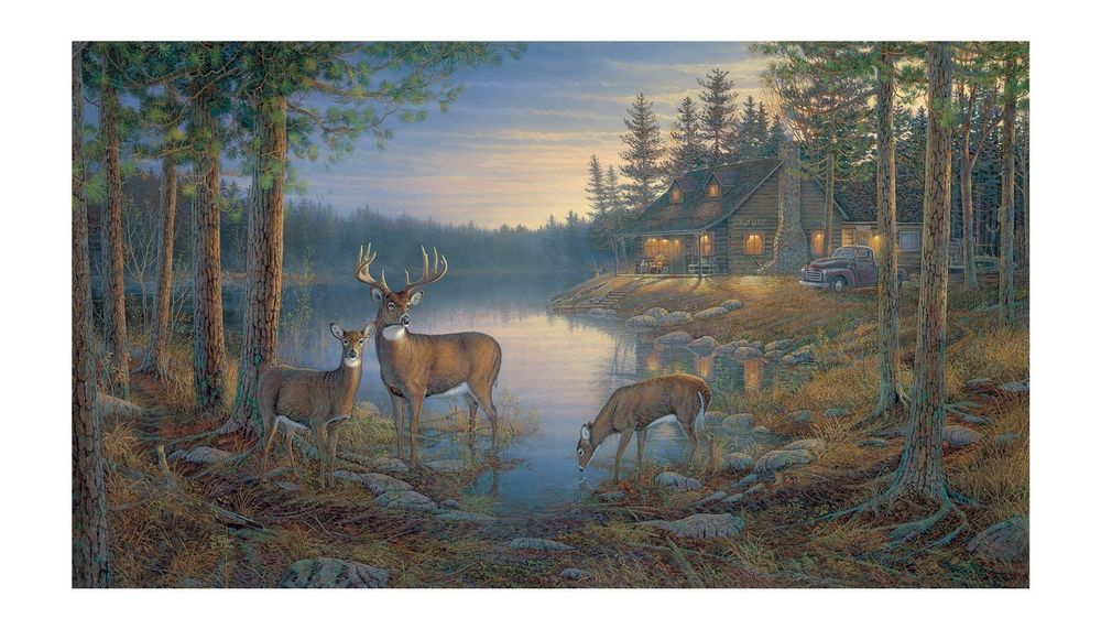 Wallpaper deer and cabin wallpapersafari for Deer wallpaper mural