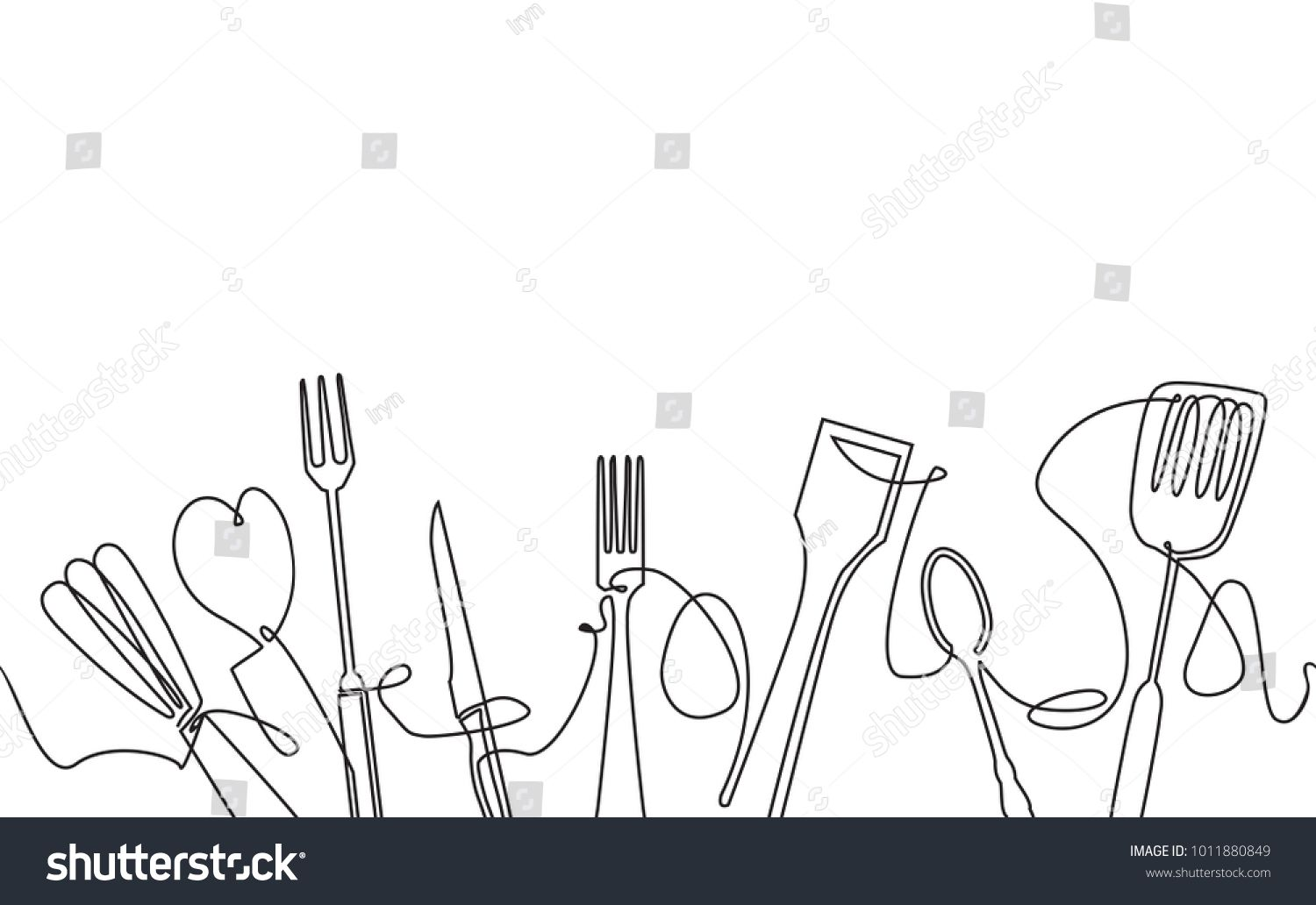 Cooking Seamless Pattern Outline Cutlery Background One Line 1500x1032