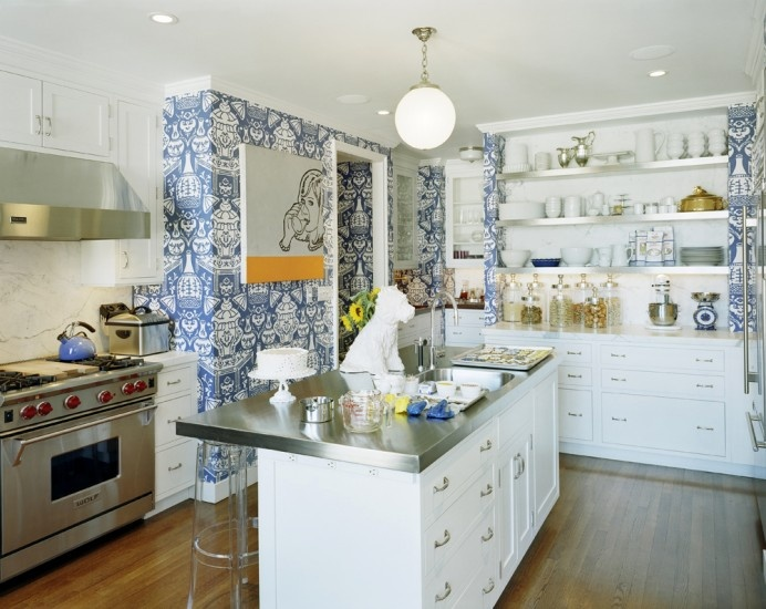 bolder Daring Why not try wallpapering your kitchen walls Wallpaper 692x550