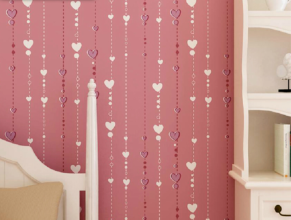 Captivating Girl Bedroom With Cartoon Pink Wallpaper Pink Cartoon Little Girl. Pink  Wallpaper For Girls Room