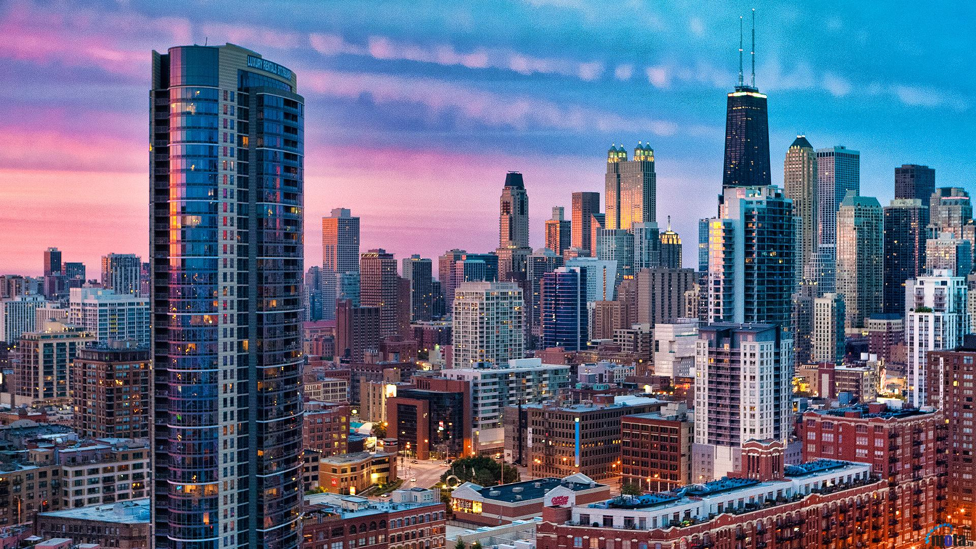 Download Wallpaper Dawn in Chicago Illinois 1920 x 1080 1920x1080