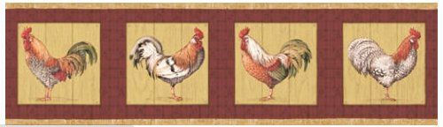 Rooster Farming Farm Country Barnyard Animal Wallpaper Border   Red 500x144