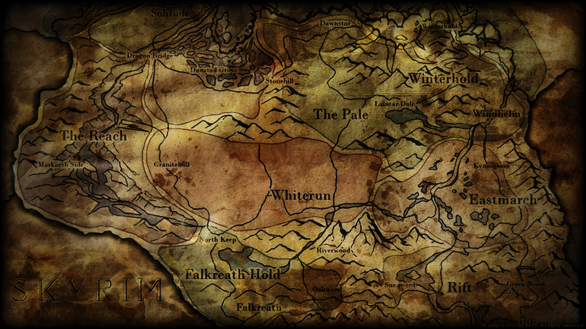 skyrim map wallpaper - wallpapersafari