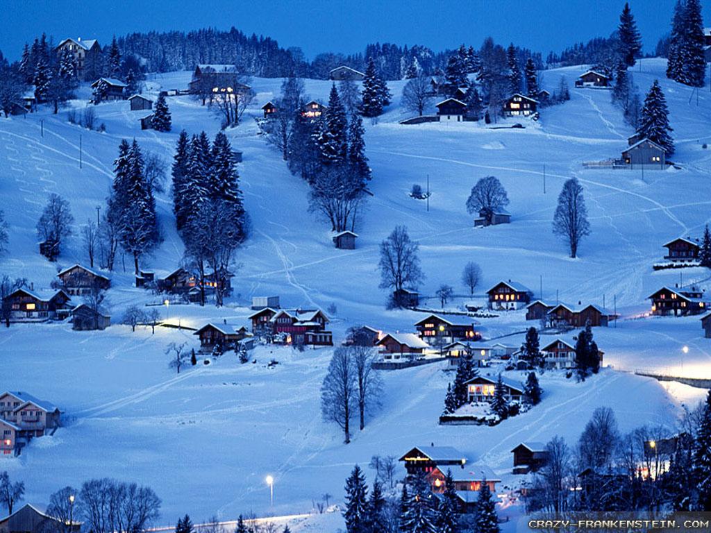 winter village desktop wallpaper wallpapers trendingspace 1024x768