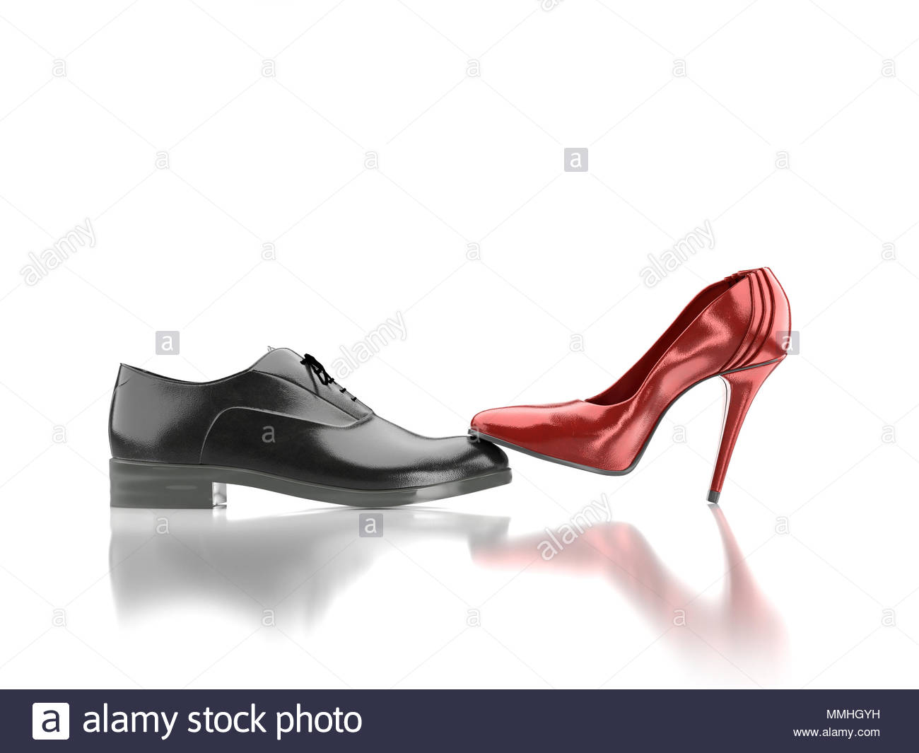 3D render of female red high hilled shoe pressing against black 1300x1065