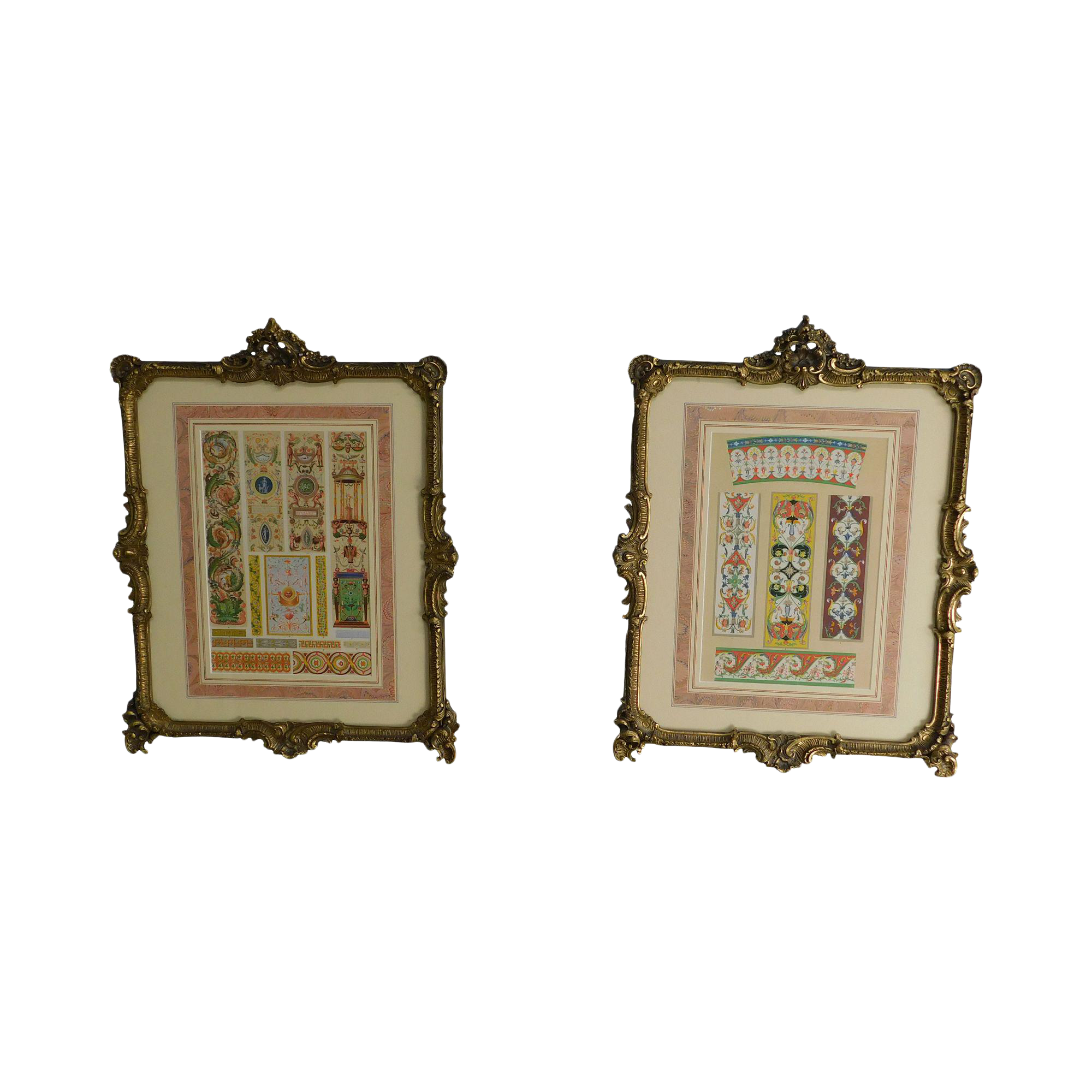 Rococo Gilt Framed Pair of Prints Showing Samples of Decorative 2000x2000