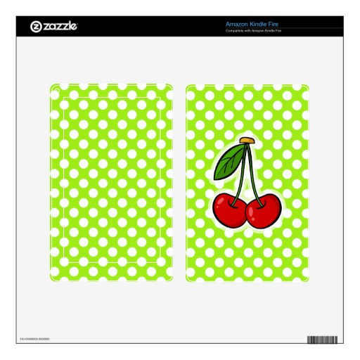 Cute Cherries on Green Yellow Polka Dots Skin For Kindle Fire 512x512