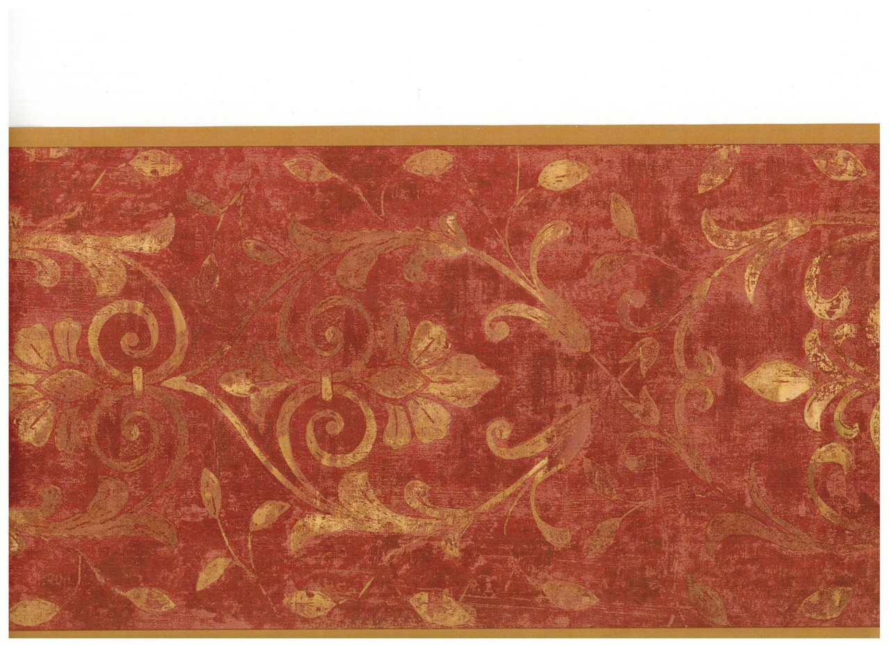 Burgundy Gold Antique Scroll Wallpaper Border  Clearance 1280x931