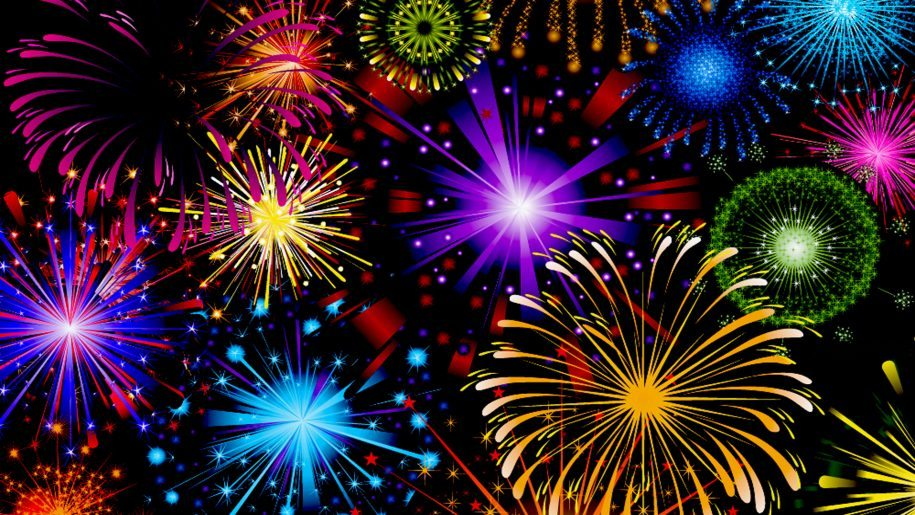 Celebration Fireworks In Red Blue Yellow And Green Color 915x515