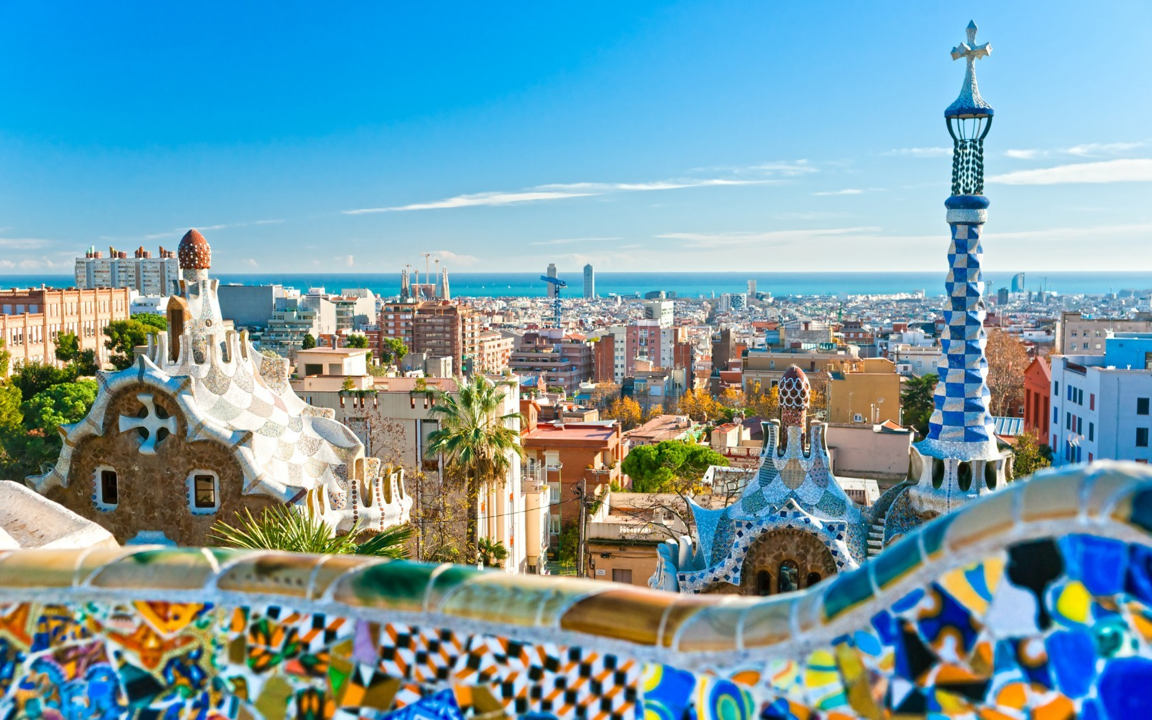 Cityscapes Barcelona Europe Spain cities gaudi wallpaper 1680x1050