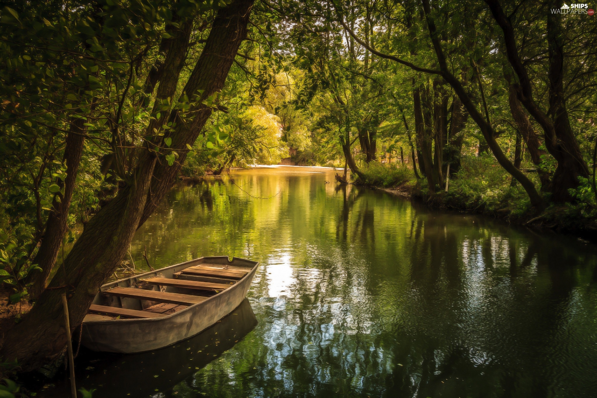 River viewes Boat trees   Ships wallpapers 2048x1365 2048x1365