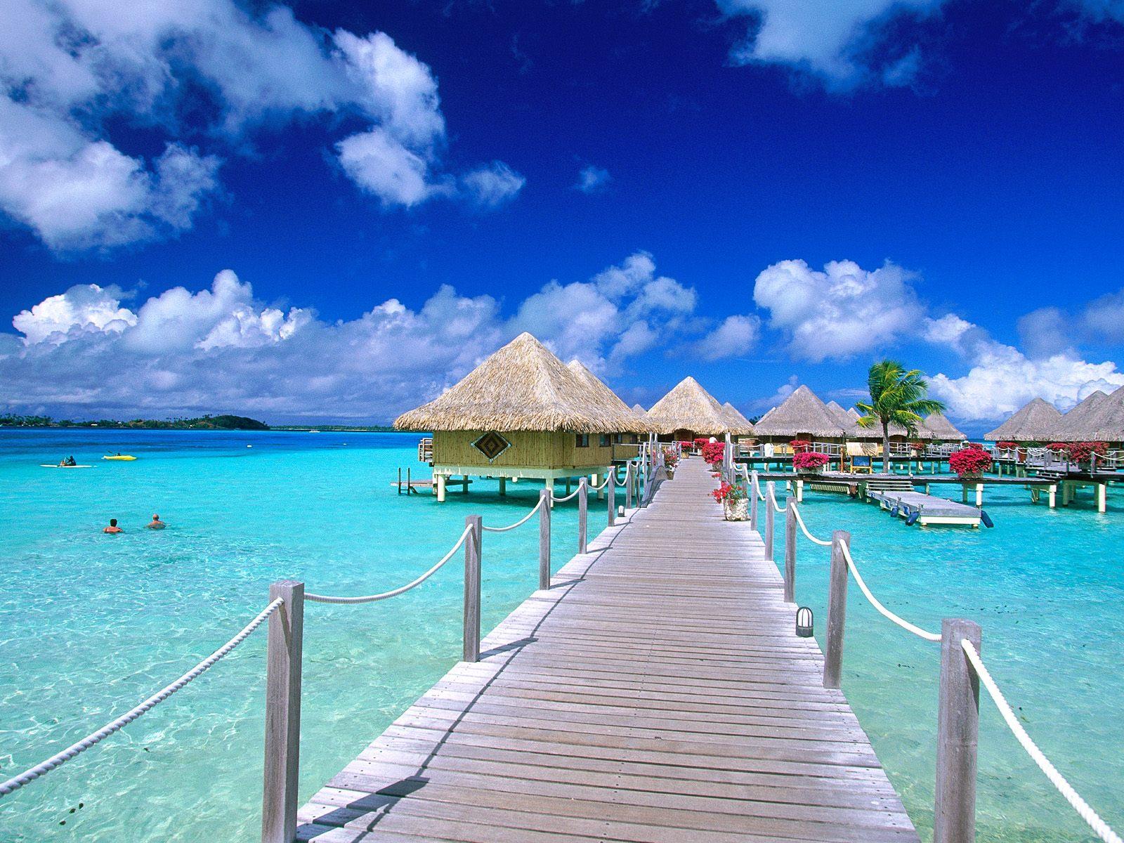 tropical island beach scenery holiday village desktop wallpaper 1600x1200