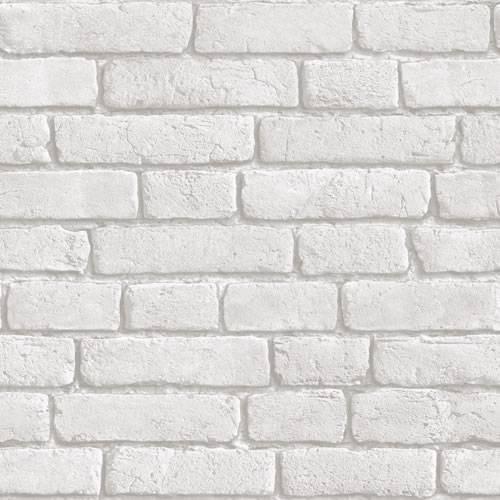 Home Light Grey White   J30309   Brick Effect   Muriva Wallpaper 500x500