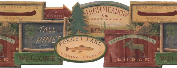 Rustic Lodge Signs Wallpaper Border Murals and Borders Pinterest 736x284