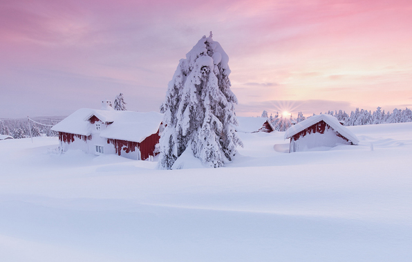 Wallpaper snow winter house norway sun tree wallpapers landscapes 596x380