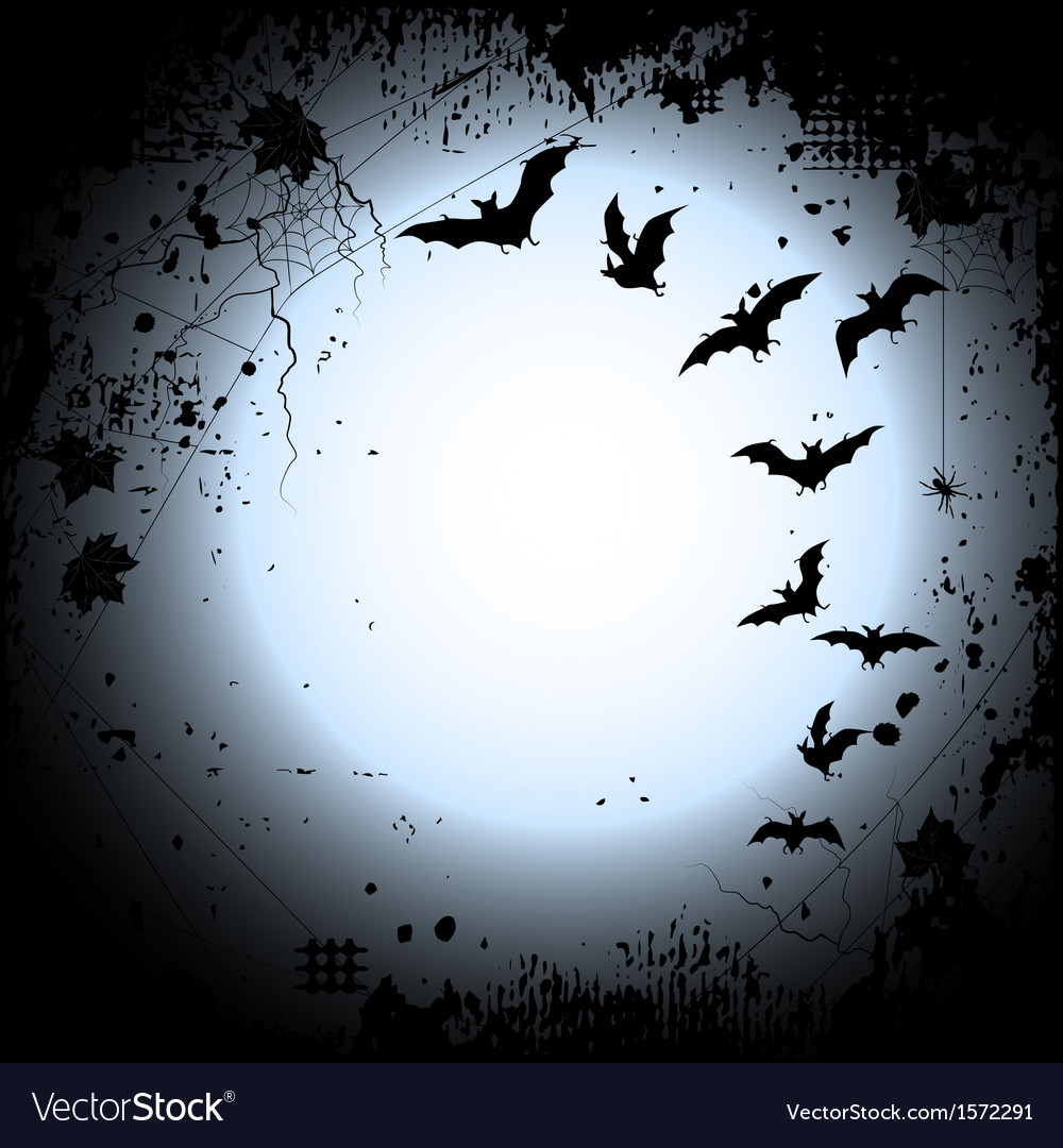 Halloween background with a full moon and bats Vector Image 1000x1080