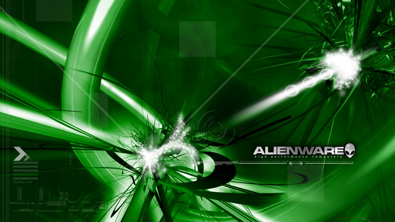 1366x768 Alienware green desktop PC and Mac wallpaper 1366x768