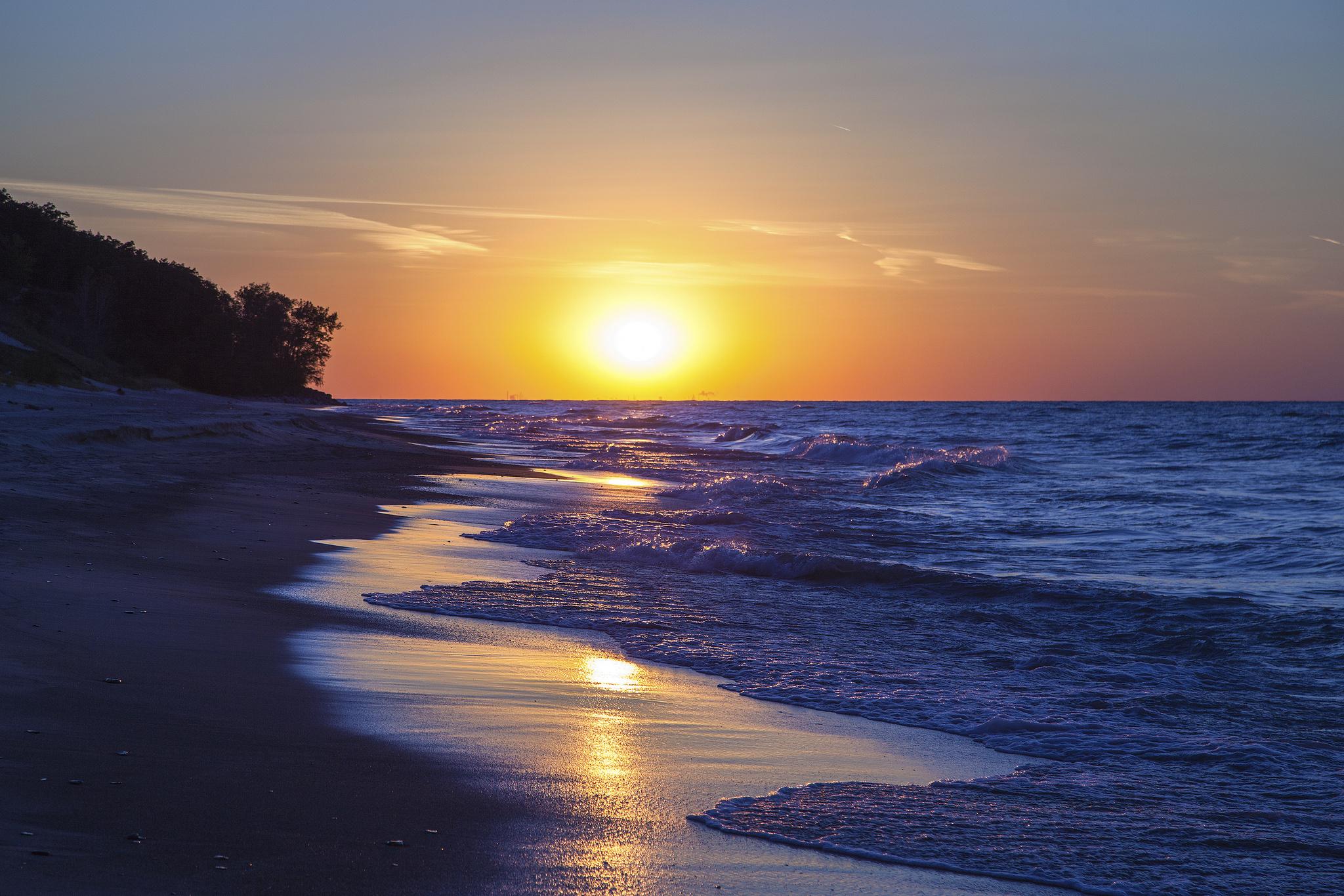 Lake Michigan Indiana sunset coast sun beach lake wallpaper background 2048x1366