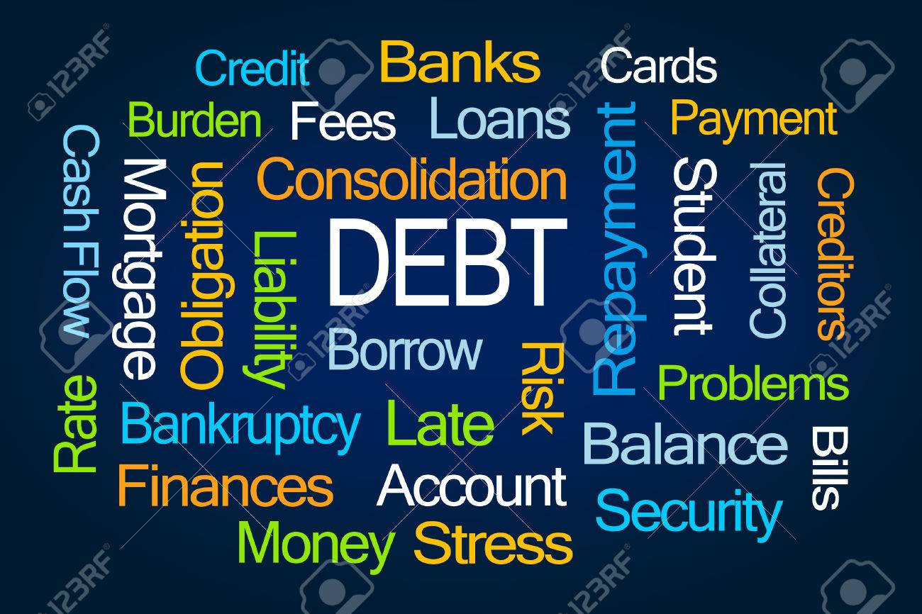 Debt Word Cloud On Blue Background Stock Photo Picture And 1300x866