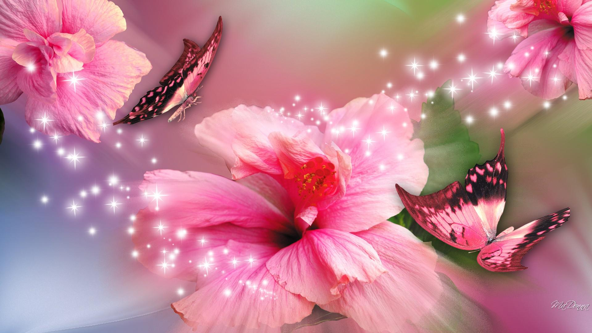 Pretty Trees Pink Butterfly Wallpaper Flower Wallpapersafari