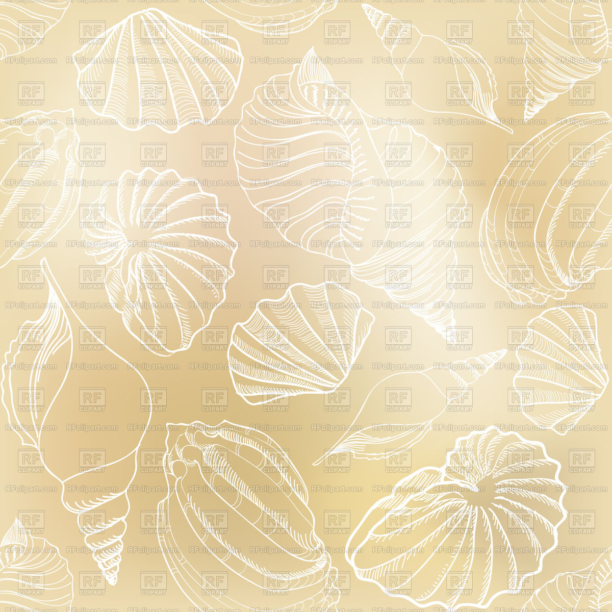 Seamless pattern with outlines of seashells   summer holiday 1200x1200