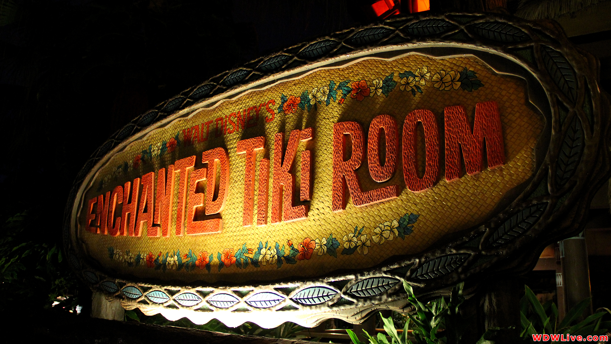 The Enchanted Tiki Room Main Attraction Sign At Night 2560x1440