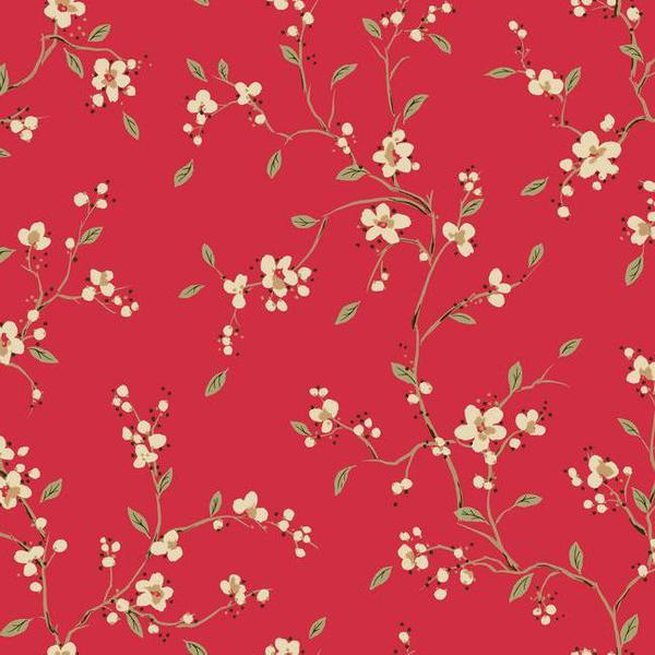 Bella Floral Wallpaper in Red by Ronald Redding for York Wallcoverings 600x600